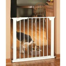 White Heavy-Duty Powder-Coated Finish Pressure Mounted Dog Steel Frame Gate