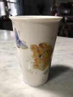 Lenox Travel Tumbler Tea Cup White Lid Butterfly Meadow Floral 10 oz Girl Gift