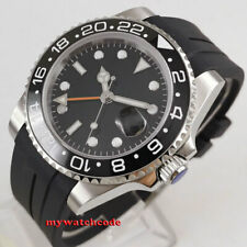 40mm PARNIS black sterile dial Sapphire glass rubber GMT automatic mens watch