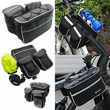 4 in 1 Bike Bicycle Cycling Front Frame Tube Saddle Bag Pannier Bag Pouch Black