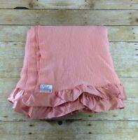 Vtg Faribo Wool Blanket Throw Peach 60x64 Woolen Mills Satin Trim