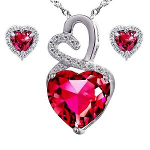 """AAA Created Ruby Heart Pendant Necklace Earring Set Sterling Silver 18"""" Chain"""
