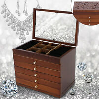 Large Wood Jewelry Cabinet Armoire Box Storage Case Chest Stand Organizer  ♪
