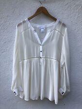 Motherhood Maternity Top Large Blouse Shirt Ivory Peasant Sheer Long Sleeve