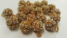 1.5cm- 5 buttons Beautiful Gold Rhinestone Beads buttons for crafting jewellery