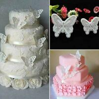 2Pcs/Set Butterfly Cake Fondant Sugarcraft Mould Cookie Plunger Cutter Mold K1W9