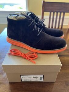 Preowned Cole Haan Lunargrand Chukka Size 11 Woodbury Suede/Orange C11187