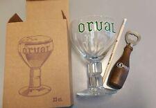 ORVAL Petit lot collector 1 verre écriture verte, 1 crayon et 1 ouvre bouteille