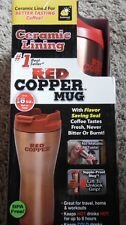 RED COPPER MUG COFFEE, DOUBLE WALL, CERAMIC LINED, NO DRIP LID, ANTI-TOPPLE BASE