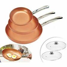 Copper Pan Juego de 3 Sartenes de 20, 24 y 28 cm, Acero Inoxidable - Marrón
