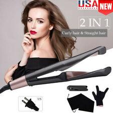 2-IN-1 Hair Straightener Pro Tourmaline Ceramic Spiral Curling Iron Curler  FZ