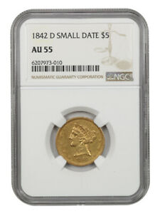 1842-D $5 NGC AU55 (Small Date) Scarce Dahlonega Issue - Scarce Dahlonega Issue