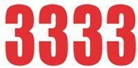 Pack of 4 x Number 3 in Red UK KART STORE