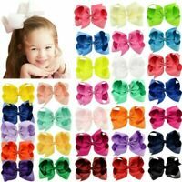 10pcs 6in Big Grosgrain Ribbon Hair Bows Clips for Baby Girls toddler Kids Teens