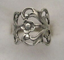 Silver Spoon Oxidized  Vintage with Hazel Design Adjustable Ring