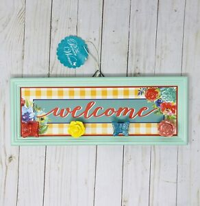 NEW! Pioneer Woman Welcome  Sign W/Knobs, Gingham Plaque, Spring 6.5 x 15 in