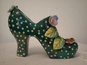 Japanese Green Porcelain *HIGH HEEL SHOE* Figurine ~ Polka Dots & Flowers Design