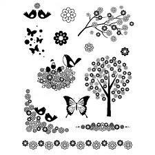 Artemio Clear Flower Stamps - Butterflies, Butterfly, Birds, Bird, Tree, Branch