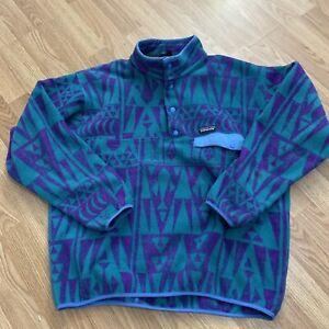 Vtg Patagonia Synchilla Snap T Fleece Pullover Aztec Teal Purple Print Mens XXL