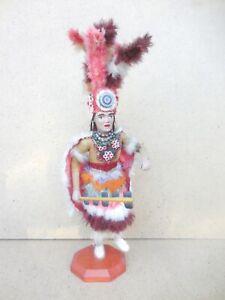"VTG AZTEC WARRIOR DANCER HAND CARVED PAINTED KACHINA - RARE 18"" FOLK ART"