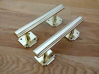 2 X BRASS ART DECO DOOR OR DRAWER PULL HANDLES CUPBOARD FURNITURE  KNOBS