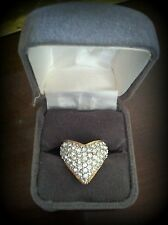 VTG *HEAVY* 18K GE PLATED RING SZ 7 CONTEMPORARY LARGE CLUSTER YELLOW GOLD W/BOX