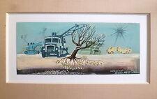 Milet Jacques gouache sur papier signée datée 1974 paysage surréaliste