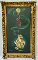 CHUCK MCPHERSON Rare Original Oil Painting Smoking Monkey Surrealism Animal Art