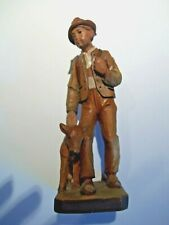 Vintage BLACK FOREST CARVED WOOD W.U.M.HEINZELLER HOLZSCHNITZEREI  BOY  CALF