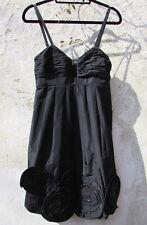 BCBG Max Azria Empire Line Strappy Pleated Beaded Black Mini Party Party Dress S