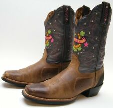WOMENS TONY LAMA LUCKY STAR ST1002 BRN LEATHER COWBOY WESTERN BOOTS SZ 6.5~1/2 B