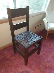 Antique Arts And Crafts Gustav Stickley Leather Strap Seat Desk Chair