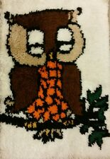 """Vintage Latch Hook Rug Wall Hanging Owl 28.5"""" x 19.5"""" Shag Nicely Done!"""
