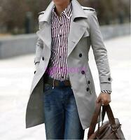 New Mens Double Breasted long Trench Coat Casual British Slim Fit Jacket Outwear