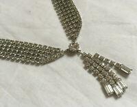 VINTAGE Sparkling Clear Rhinestone Diamante Necklace Collier 5 Rows & Drops #2