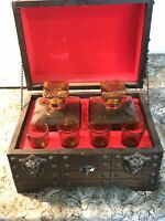 Vintage Treasure Chest Whiskey Bar Amber Decanters & Shot Glasses Set
