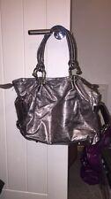 TOPSHOP Large Shopper Style Handbag Shoulder Tote Metallic Purple Grey Bronze 🦄