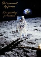 Moon Landing Quote - Neil Armstrong History Art Poster / Canvas Picture Print