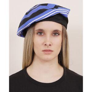 SZ M NEW $340 PRADA Woman's Blue Black White STRIPED Poplin Cotton Beret HAT NWT