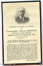 PHOTO FAIRE-PART . Commandant Marcel Gagnon  .Légion d'Honneur