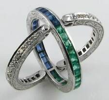 9CT SOLID WHITE GOLD SAPPHIRE EMERALD DIAMOND REVERSIBLE  HINGED RING  USA 7.5