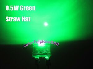 100pcs, 8mm 0.5W Green Straw Hat High-power Diodes LED Leds Light StrawHat Lamp