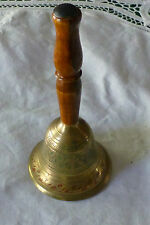 """Brass Bell Wood Handle Artistic Design India? 2 1/2"""" By 6"""" Vintage Dinner"""
