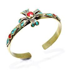 Brass Buddha Bajra Coral Turquoise Stone Cuff Bracelet Handcrafted Tibetan New