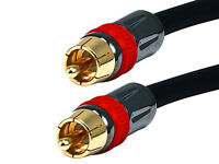 Premium RCA Coax Coaxial Audio Video A/V Cable Composite Subwoofer Cord M/M NEW