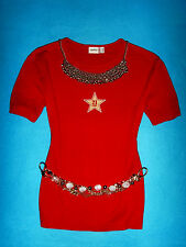 ESPRIT SHIRT ROCKABILLY ROMANTIK BoHo ROT STERN XL L 40 42 NEUW. !!! TOP !!!