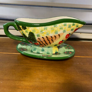 Used WCL Vintage Ceramic Gravy Boat & Attached Underplate Fall Harvest Autumn
