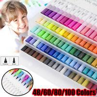 48/60/80/100 Colors Double-headed Marker Pen Art Brush Dual Tip Watercolor Pens