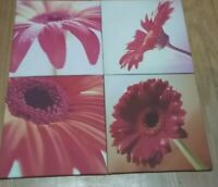Canvas Prints Painting Picture Photo Wall Art Home Office Decor red  Flowers 4PC