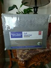 Better Homes And Gardens Embroidered Gray FULL Sheet Set Luxury Microfiber